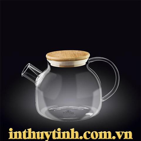 Bình trà nắp gỗ 1.15L thủy tinh ( WILMAX)